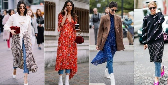 Dress over jeans to wear in winter