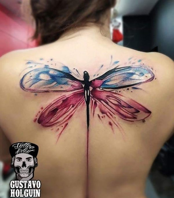 dragonfly tattoos on back for girls