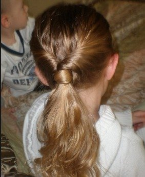 Double-Twisted Hair-Wrapped Ponytail