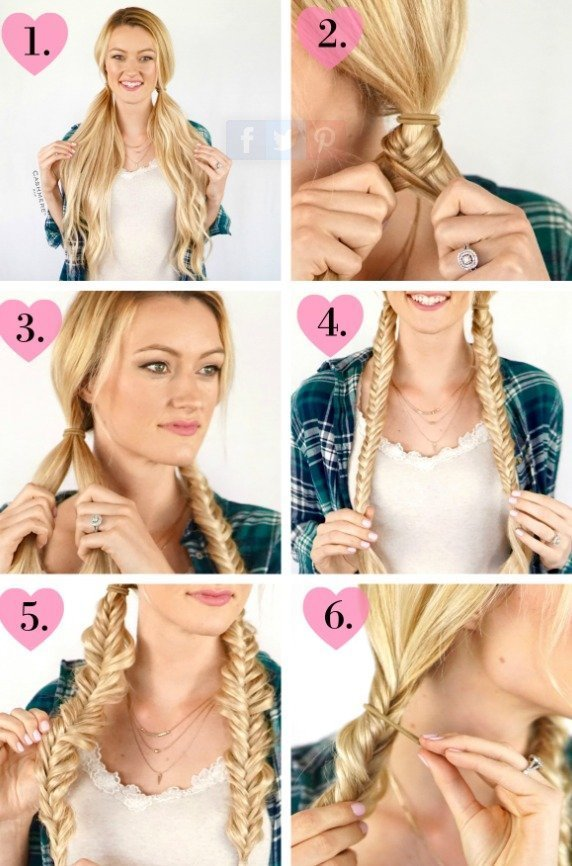 Fishtail Pigtails Hairstyles Tutorial
