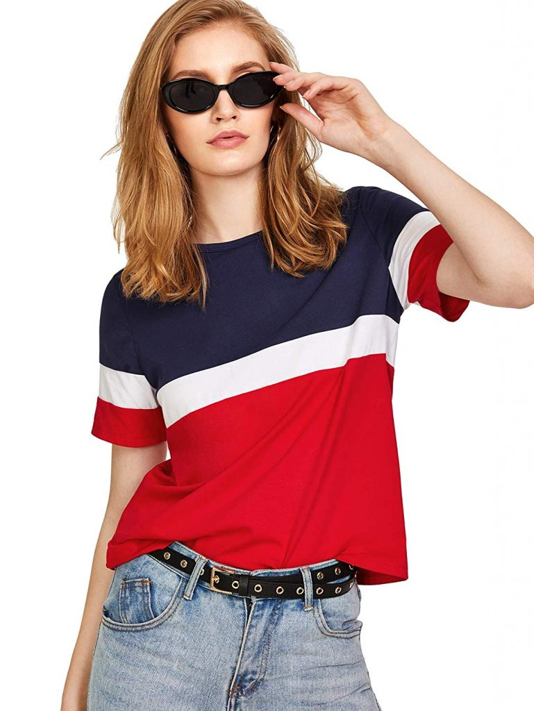blue white tshirt for college outfits in India